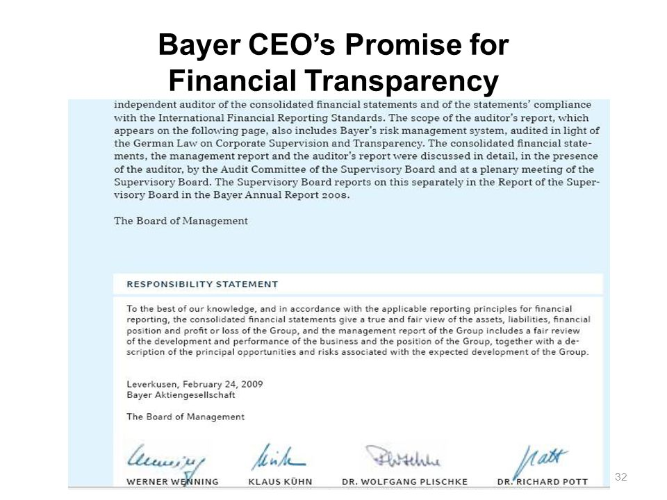 32 Bayer CEO's Promise for Financial Transparency