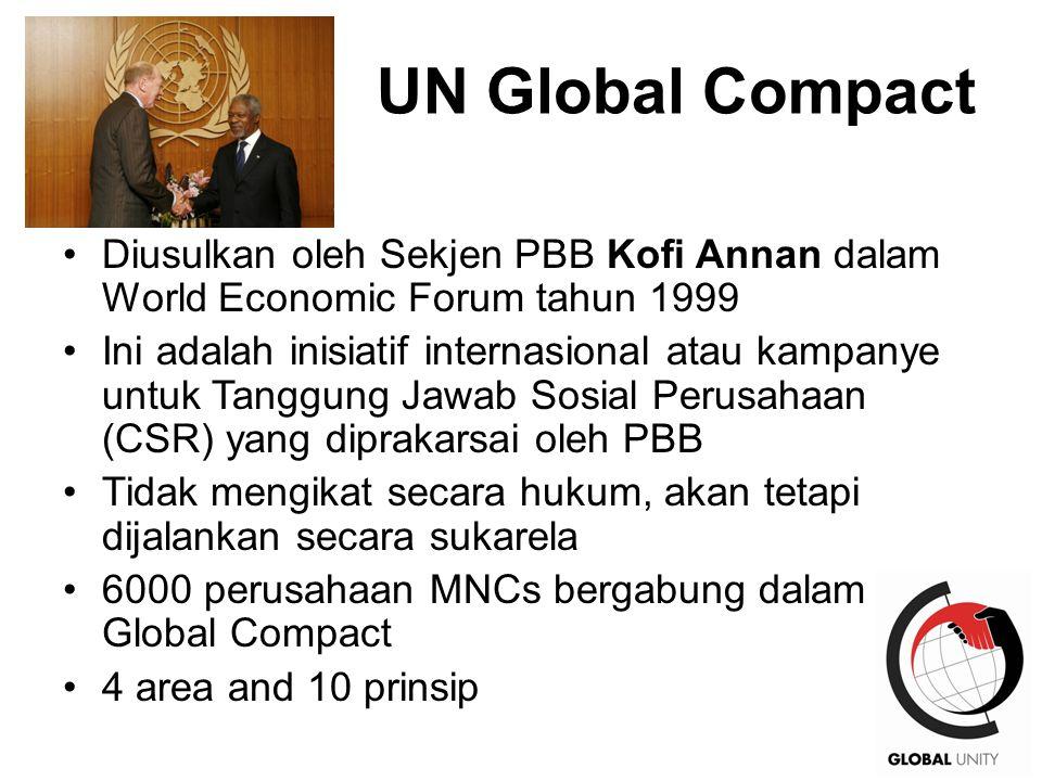 39 UN Global Compact Diusulkan oleh Sekjen PBB Kofi Annan dalam World Economic Forum tahun 1999 Ini adalah inisiatif internasional atau kampanye untuk Tanggung Jawab Sosial Perusahaan (CSR) yang diprakarsai oleh PBB Tidak mengikat secara hukum, akan tetapi dijalankan secara sukarela 6000 perusahaan MNCs bergabung dalam Global Compact 4 area and 10 prinsip
