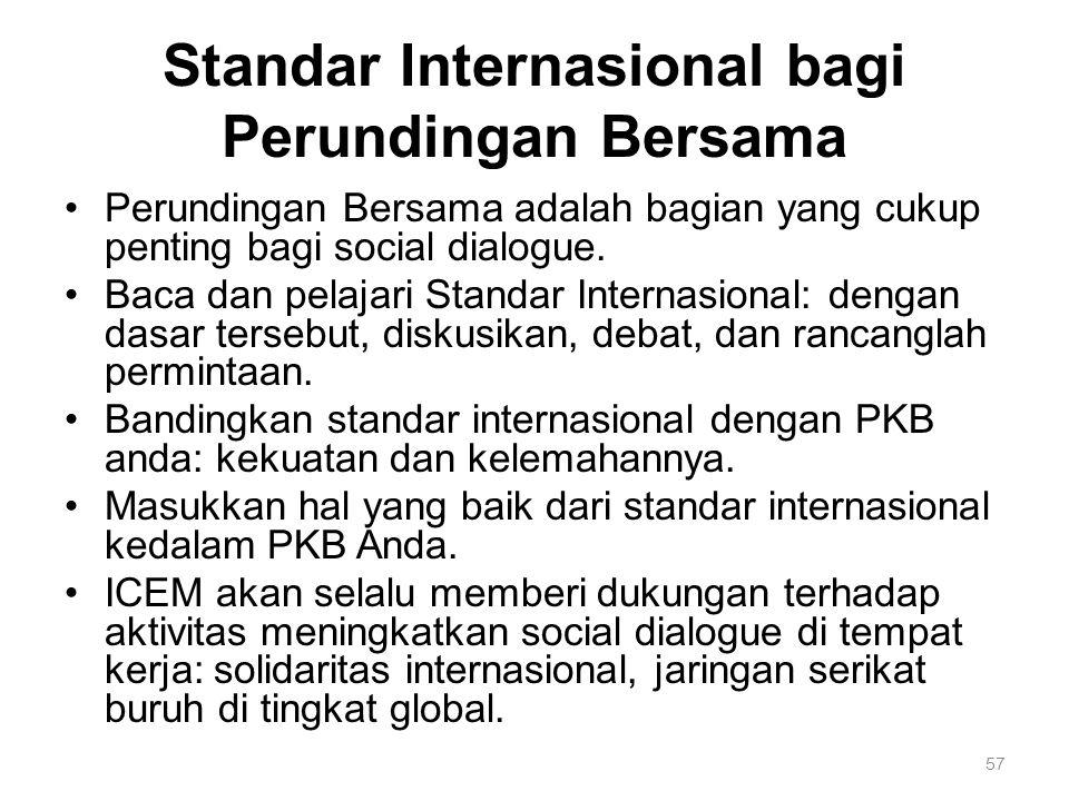 57 Standar Internasional bagi Perundingan Bersama Perundingan Bersama adalah bagian yang cukup penting bagi social dialogue.