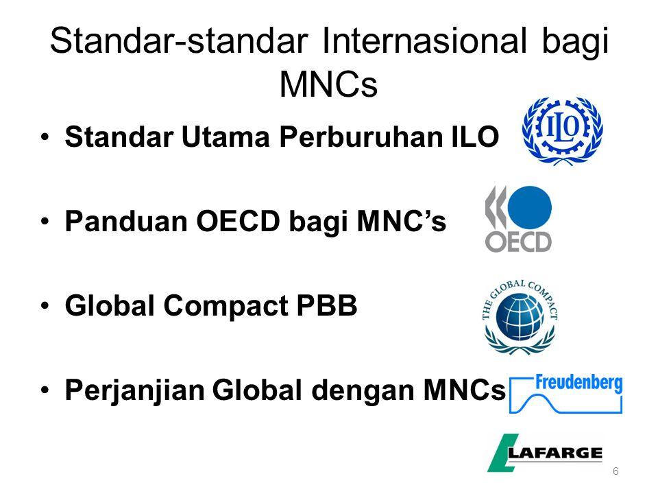 6 Standar-standar Internasional bagi MNCs Standar Utama Perburuhan ILO Panduan OECD bagi MNC's Global Compact PBB Perjanjian Global dengan MNCs