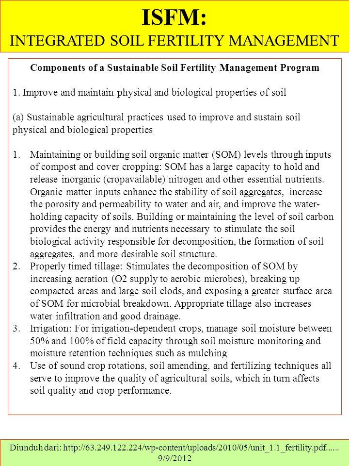 ISFM: INTEGRATED SOIL FERTILITY MANAGEMENT Diunduh dari: http://63.249.122.224/wp-content/uploads/2010/05/unit_1.1_fertility.pdf...... 9/9/2012 Compon