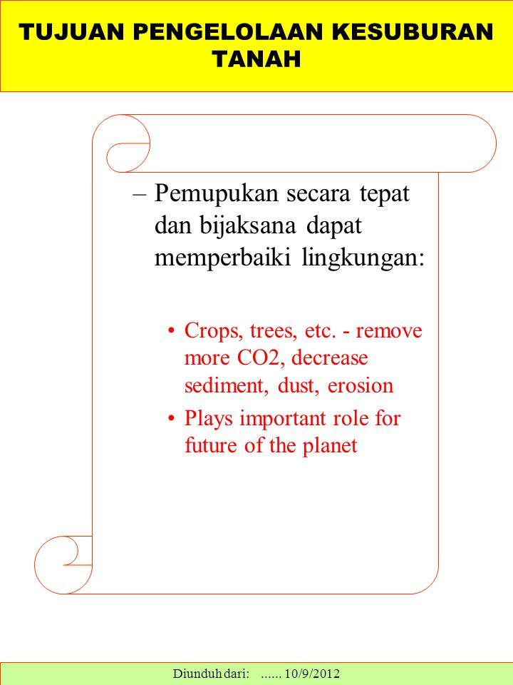 –Pemupukan secara tepat dan bijaksana dapat memperbaiki lingkungan: Crops, trees, etc. - remove more CO2, decrease sediment, dust, erosion Plays impor