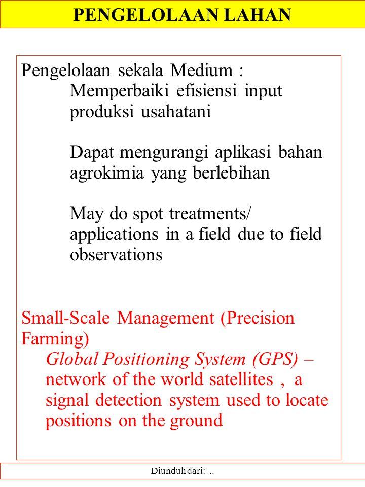 Diunduh dari:.. Pengelolaan sekala Medium : Memperbaiki efisiensi input produksi usahatani Dapat mengurangi aplikasi bahan agrokimia yang berlebihan M