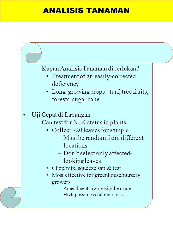 –Kapan Analisis Tanaman diperlukan? Treatment of an easily-corrected deficiency Long-growing crops: turf, tree fruits, forests, sugar cane Uji Cepat d