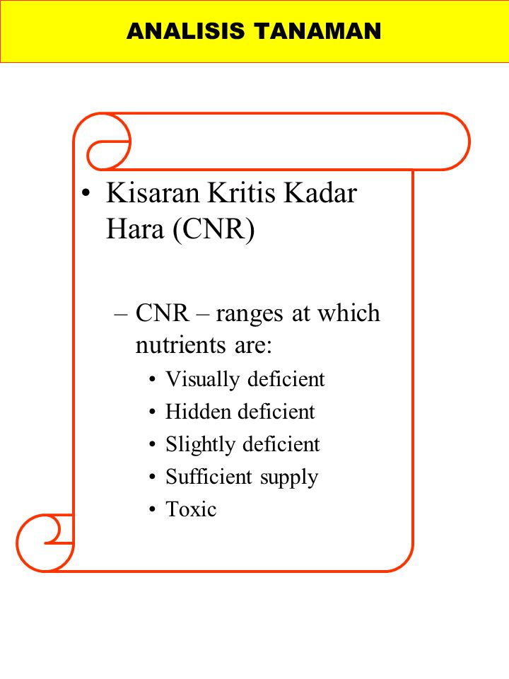 Kisaran Kritis Kadar Hara (CNR) –CNR – ranges at which nutrients are: Visually deficient Hidden deficient Slightly deficient Sufficient supply Toxic ANALISIS TANAMAN