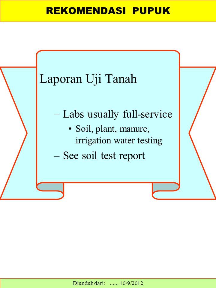 Laporan Uji Tanah –Labs usually full-service Soil, plant, manure, irrigation water testing –See soil test report REKOMENDASI PUPUK Diunduh dari:......