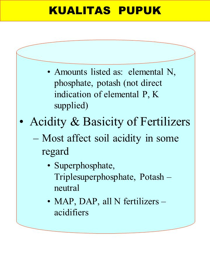 Amounts listed as: elemental N, phosphate, potash (not direct indication of elemental P, K supplied) Acidity & Basicity of Fertilizers –Most affect so