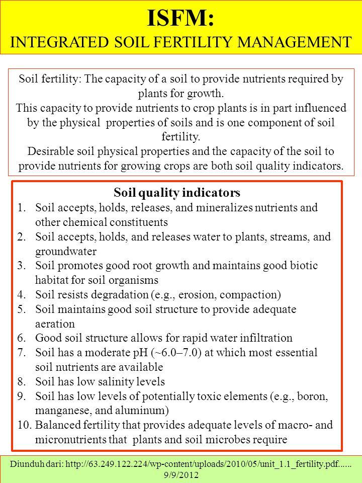 ISFM: INTEGRATED SOIL FERTILITY MANAGEMENT Diunduh dari: http://63.249.122.224/wp-content/uploads/2010/05/unit_1.1_fertility.pdf...... 9/9/2012 Soil f