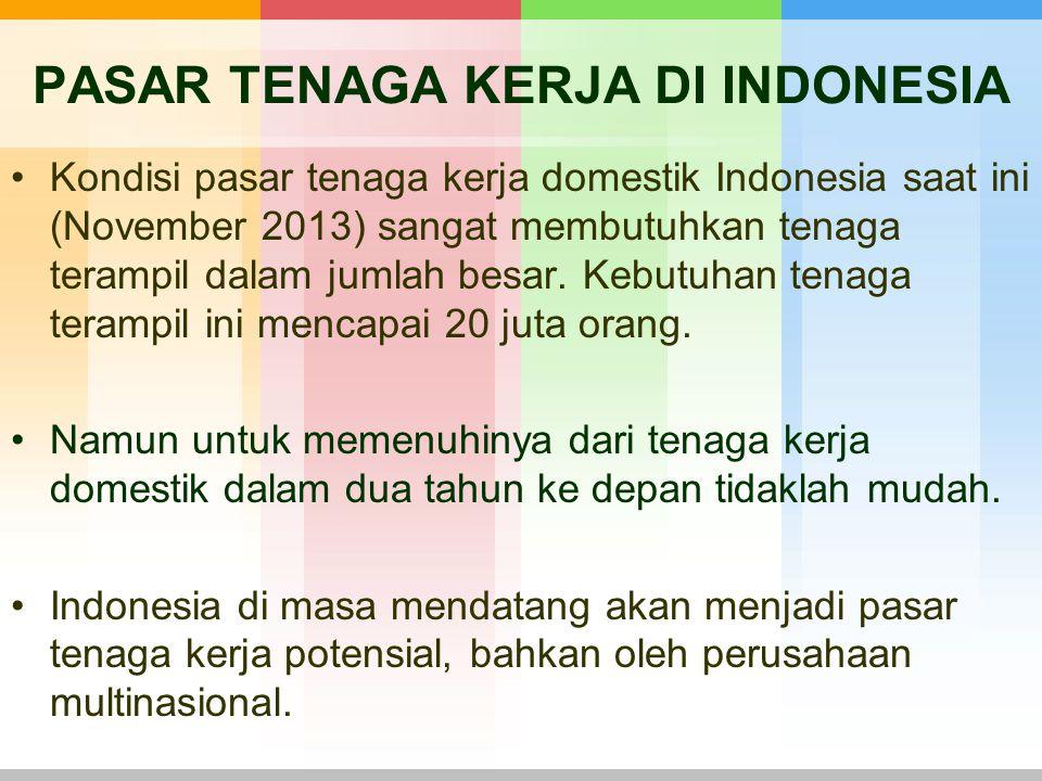 PASAR TENAGA KERJA DI INDONESIA Kondisi pasar tenaga kerja domestik Indonesia saat ini (November 2013) sangat membutuhkan tenaga terampil dalam jumlah