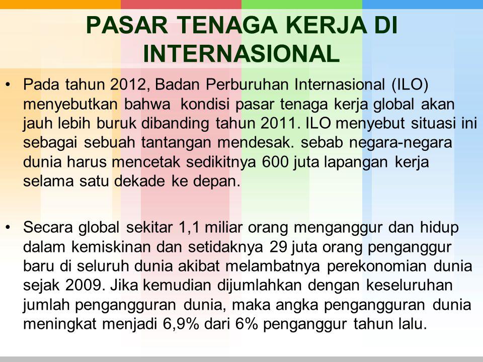 PASAR TENAGA KERJA DI INTERNASIONAL Pada tahun 2012, Badan Perburuhan Internasional (ILO) menyebutkan bahwa kondisi pasar tenaga kerja global akan jau