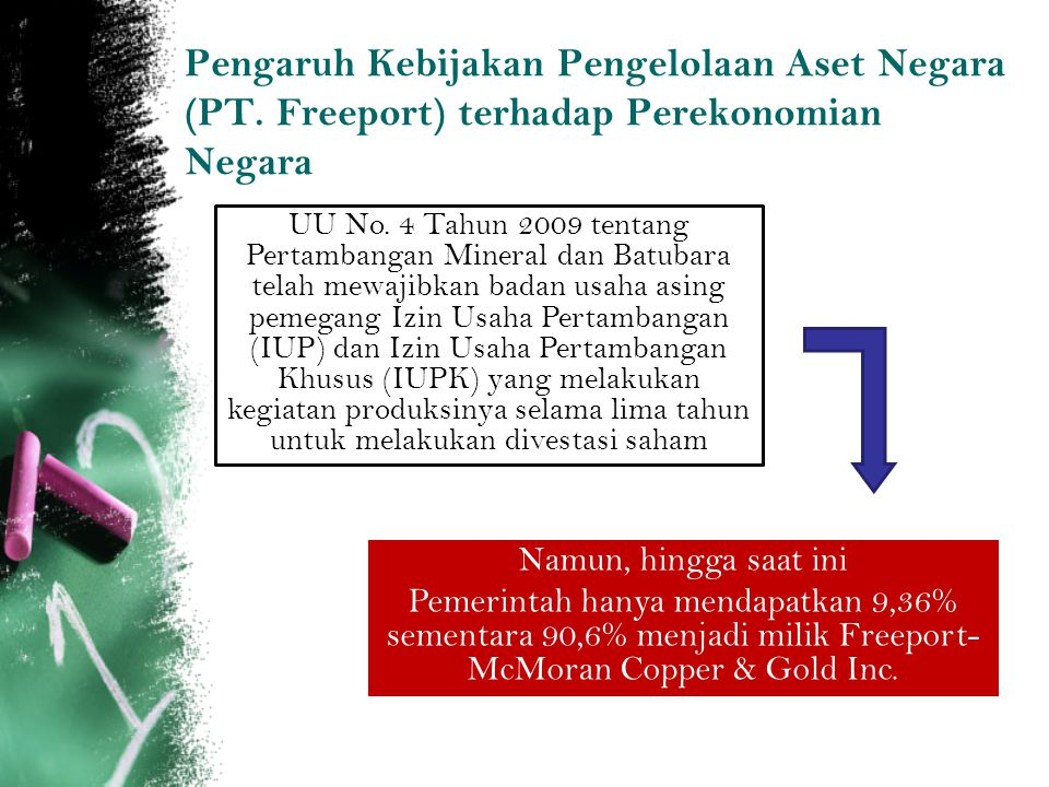 Pengaruh Kebijakan Pengelolaan Aset Negara (PT. Freeport) terhadap Perekonomian Negara UU No. 4 Tahun 2009 tentang Pertambangan Mineral dan Batubara t