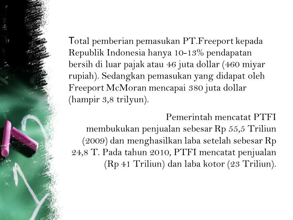 T otal pemberian pemasukan PT.Freeport kepada Republik Indonesia hanya 10-13% pendapatan bersih di luar pajak atau 46 juta dollar (460 miyar rupiah).