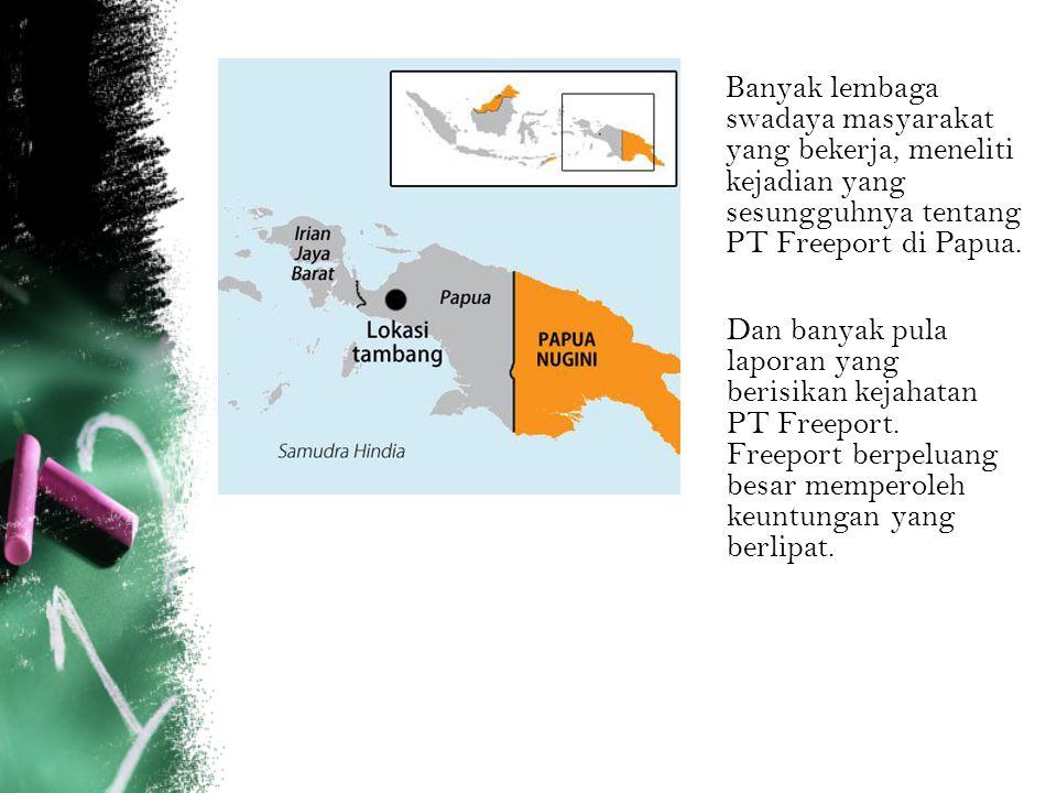 Banyak lembaga swadaya masyarakat yang bekerja, meneliti kejadian yang sesungguhnya tentang PT Freeport di Papua. Dan banyak pula laporan yang berisik