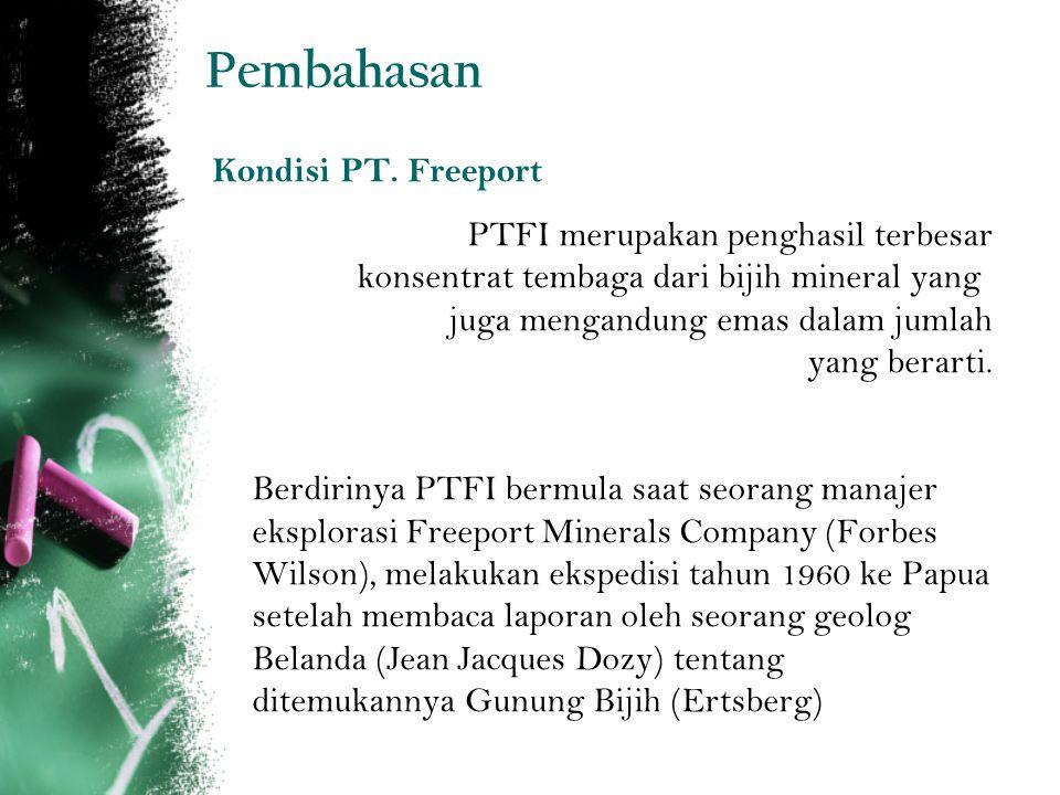 Pembahasan Kondisi PT. Freeport PTFI merupakan penghasil terbesar konsentrat tembaga dari bijih mineral yang juga mengandung emas dalam jumlah yang be
