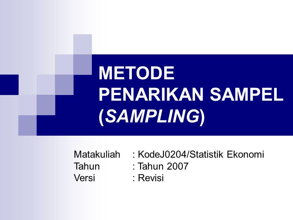 METODE PENARIKAN SAMPEL (SAMPLING) Matakuliah: KodeJ0204/Statistik Ekonomi Tahun: Tahun 2007 Versi: Revisi