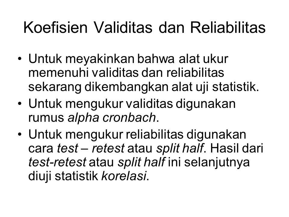 Koefisien Validitas dan Reliabilitas Untuk meyakinkan bahwa alat ukur memenuhi validitas dan reliabilitas sekarang dikembangkan alat uji statistik. Un