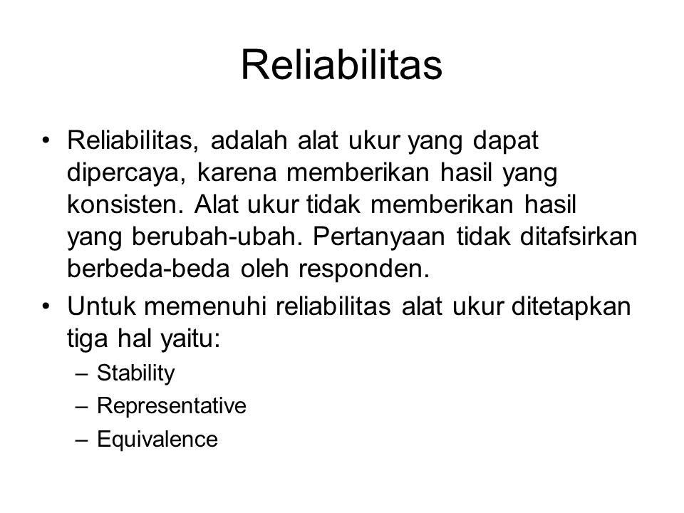 Reliabilitas Reliabilitas, adalah alat ukur yang dapat dipercaya, karena memberikan hasil yang konsisten. Alat ukur tidak memberikan hasil yang beruba