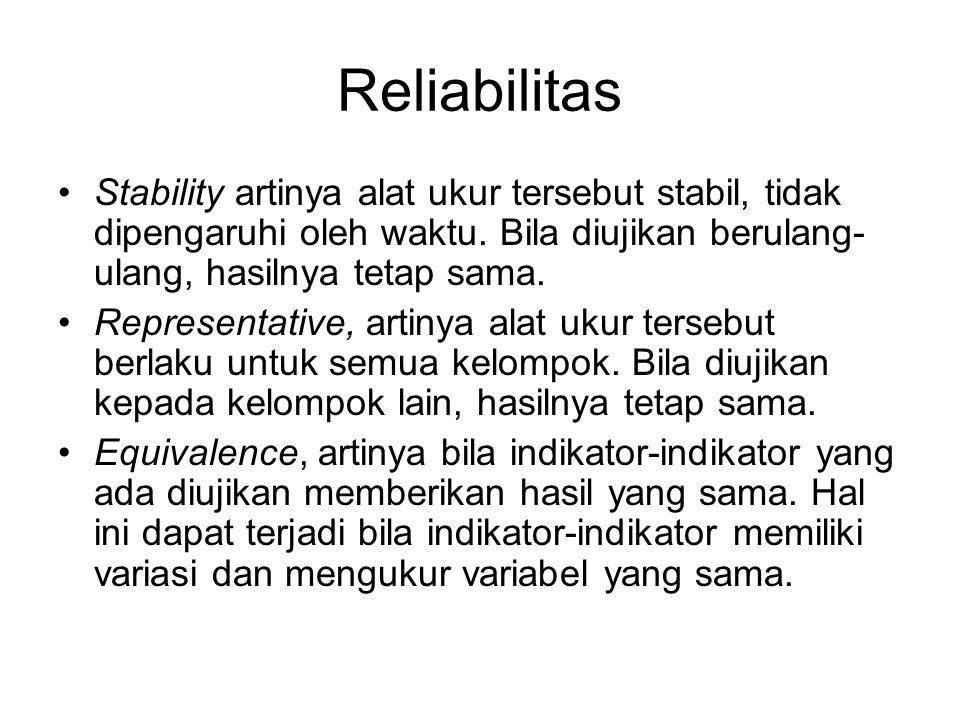 Reliabilitas Stability artinya alat ukur tersebut stabil, tidak dipengaruhi oleh waktu. Bila diujikan berulang- ulang, hasilnya tetap sama. Representa