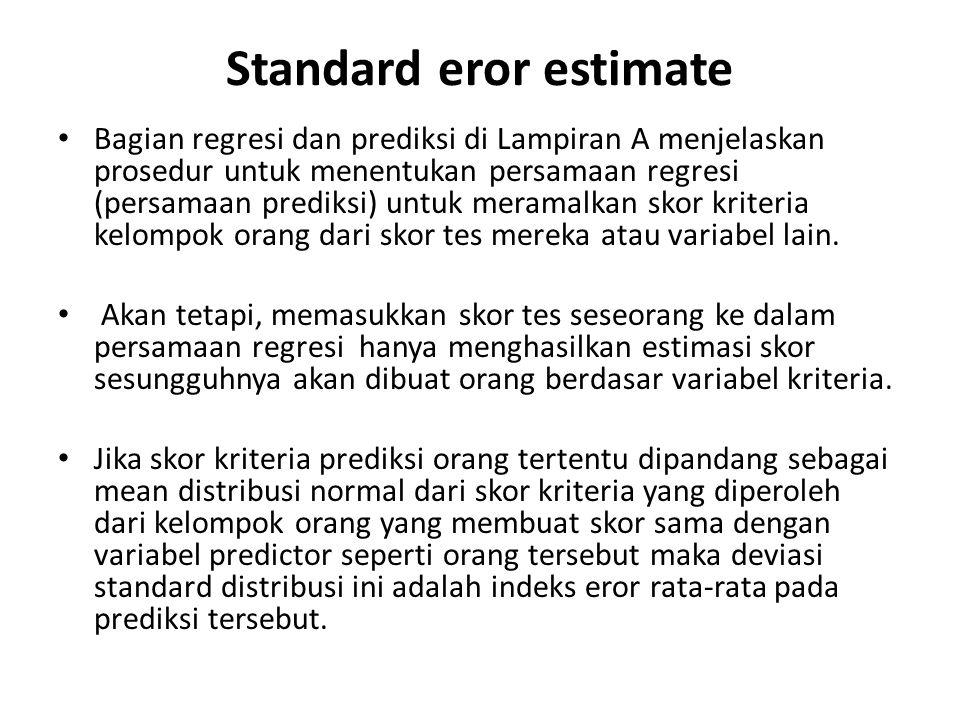 Standard eror estimate Bagian regresi dan prediksi di Lampiran A menjelaskan prosedur untuk menentukan persamaan regresi (persamaan prediksi) untuk meramalkan skor kriteria kelompok orang dari skor tes mereka atau variabel lain.
