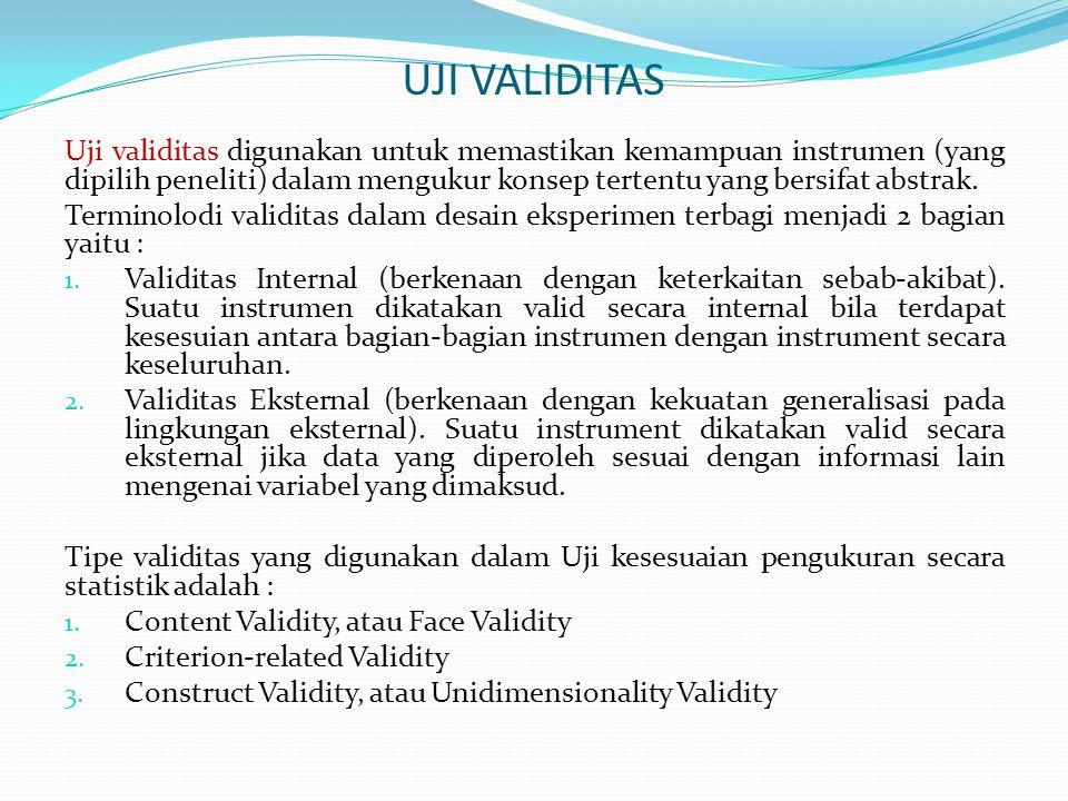 …lanjutan : uji validitas Content Validity : validitas isi digunakan untuk memastikan bahwa pengukuran atas satu set item (unsur indikator/ dimensi) telah memadai dan representatif sesuai dengan konsep/teori.