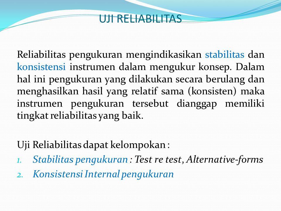 …lanjutan : uji reliabilitas Test-Retest Reliability : Koefisien reliabilitas diperoleh dengan mengulang pertanyaan yang sama pada waktu yang berbeda (across time).