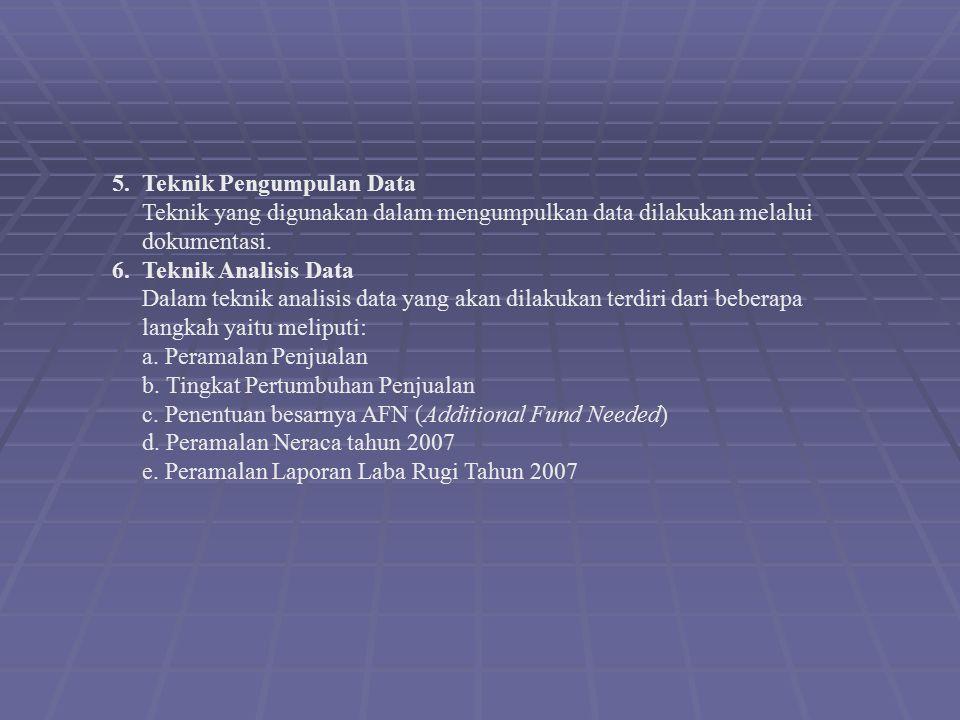 5. Teknik Pengumpulan Data Teknik yang digunakan dalam mengumpulkan data dilakukan melalui dokumentasi. 6. Teknik Analisis Data Dalam teknik analisis