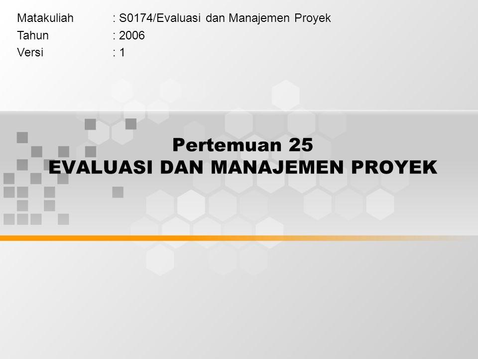 Pertemuan 25 EVALUASI DAN MANAJEMEN PROYEK Matakuliah: S0174/Evaluasi dan Manajemen Proyek Tahun: 2006 Versi: 1