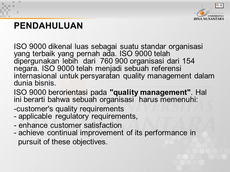 PENDAHULUAN ISO 9000 dikenal luas sebagai suatu standar organisasi yang terbaik yang pernah ada.