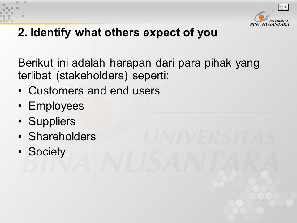 2. Identify what others expect of you Berikut ini adalah harapan dari para pihak yang terlibat (stakeholders) seperti: Customers and end users Employe
