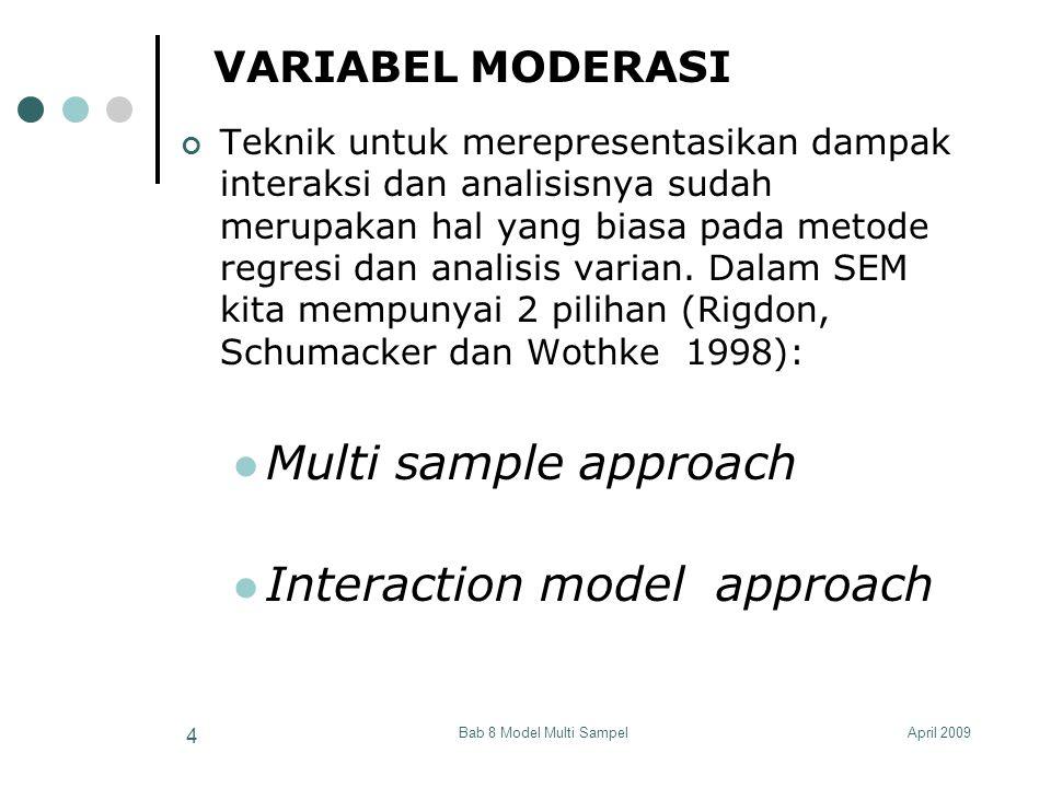 April 2009Bab 8 Model Multi Sampel 35 MULTI-SAMPLE APPROACH EValuasi Perbedaan Parameter di antara Grup Model A: Chi Square (χ2) = 20.59 Degree of Freedom (df) = 18 Model C: χ2 = 16.24 df = 17 ∆χ2 = χ2 Model A - χ2 Model C = 20.59 – 16.24 = 4.35 ∆df = df Model A – df Model C = 18 – 17 = 1 Dari table distribusi χ2 (atau dihitung menggunakan Excel) untuk χ2 = 4.35 dan df = 1 akan diperoleh nilai p = 0.037 < 0.05  signifikan pada α = 0.05.