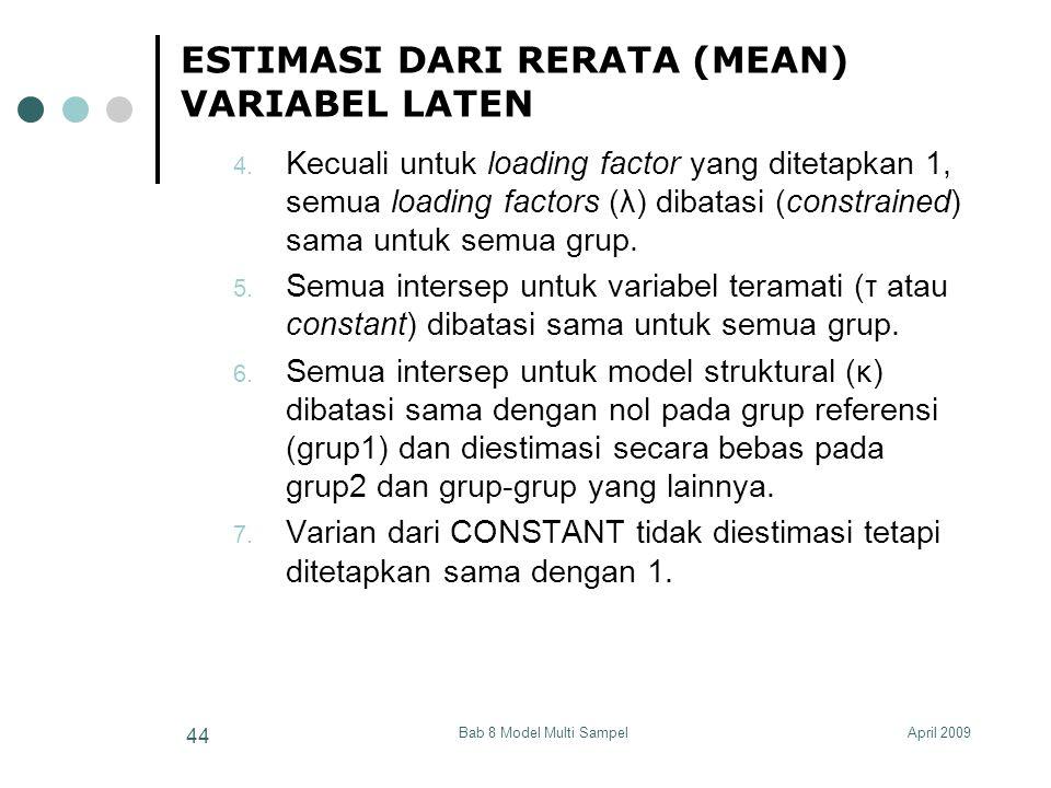 April 2009Bab 8 Model Multi Sampel 44 ESTIMASI DARI RERATA (MEAN) VARIABEL LATEN 4.