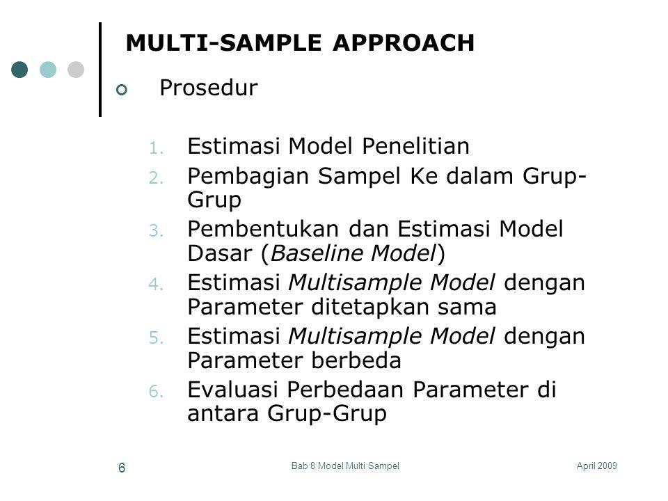April 2009Bab 8 Model Multi Sampel 37 ESTIMASI DARI RERATA (MEAN) VARIABEL LATEN Dalam studi Multigrup, restriksi ini dapat dilonggarkan dengan mengasumsikan bahwa variabel laten mempunyai skala sama pada semua grup.