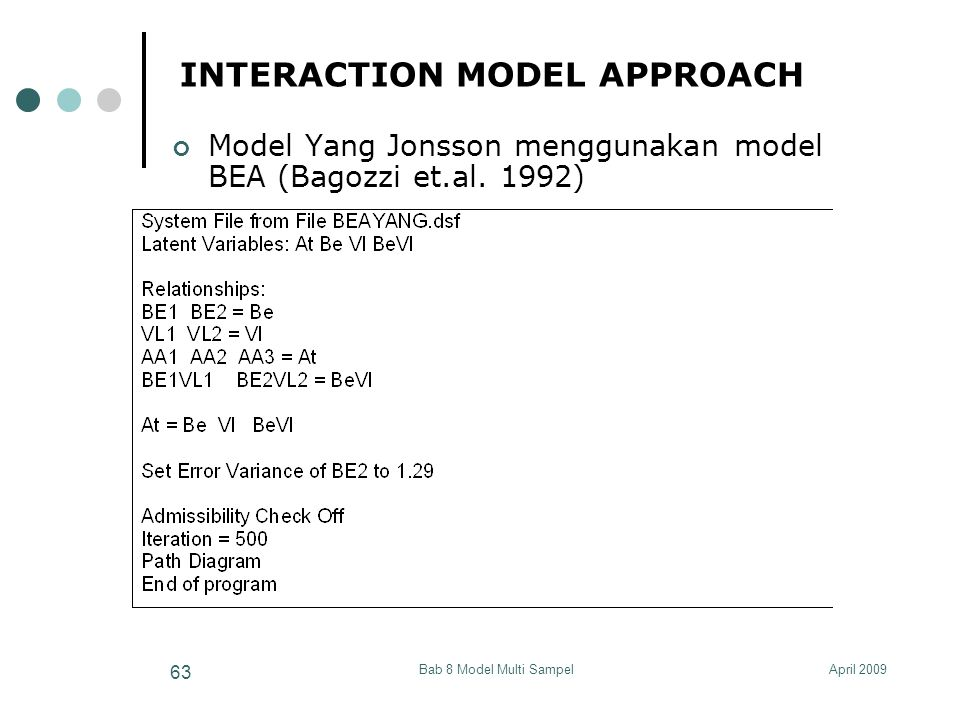 April 2009Bab 8 Model Multi Sampel 63 INTERACTION MODEL APPROACH Model Yang Jonsson menggunakan model BEA (Bagozzi et.al. 1992)