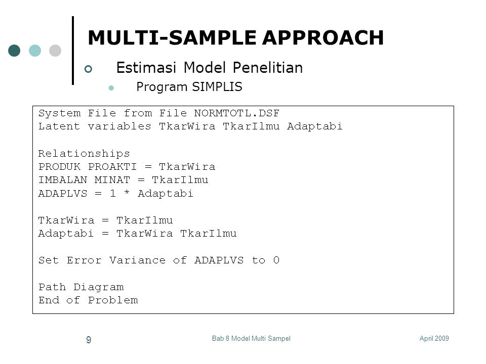 April 2009Bab 8 Model Multi Sampel 40 ESTIMASI DARI RERATA (MEAN) VARIABEL LATEN Contoh Perbedaan Rerata pada 2 Variabel Diagram Lintasan WRITING5 READING5 READING7 WRITING7 Verbal5 Verbal7 CONSTANT κ2κ2 τ2τ2 τ3τ3 τ4τ4 κ1κ1 τ1τ1 λ 42 λ 21 1 1