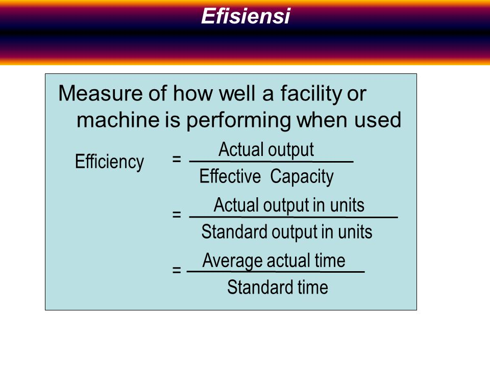 Measure of how well a facility or machine is performing when used Efficiency Actual output Effective Capacity Actual output in units Standard output in units Average actual time Standard time = = = Efficiency Efisiensi