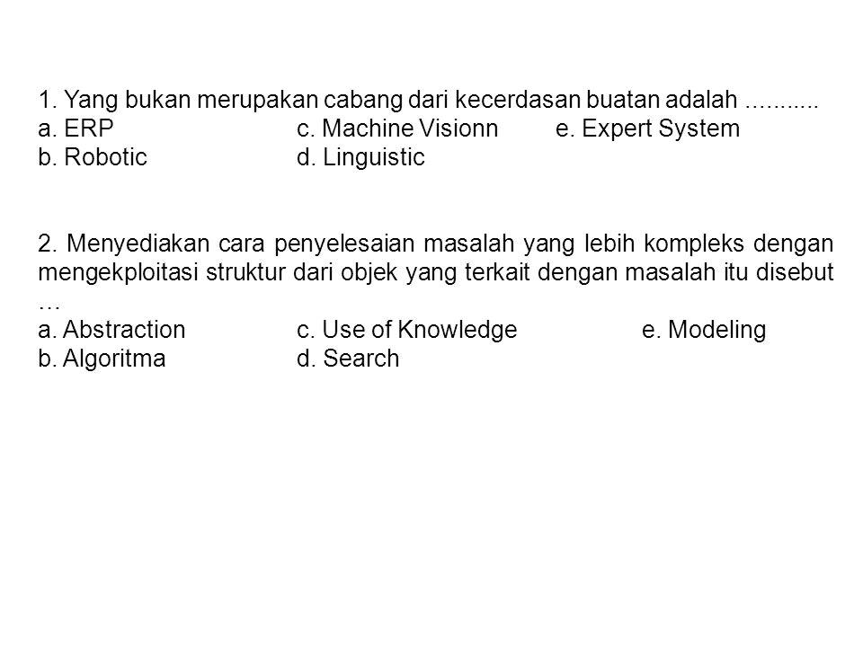 1. Yang bukan merupakan cabang dari kecerdasan buatan adalah........... a. ERPc. Machine Visionne. Expert System b. Roboticd. Linguistic 2. Menyediaka
