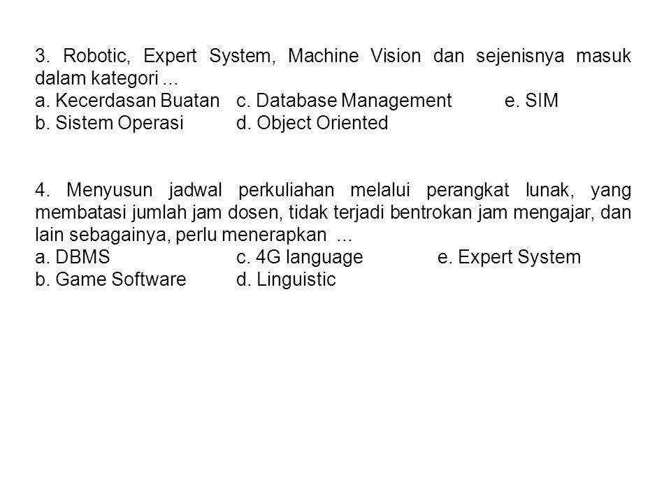 3. Robotic, Expert System, Machine Vision dan sejenisnya masuk dalam kategori... a. Kecerdasan Buatanc. Database Managemente. SIM b. Sistem Operasid.