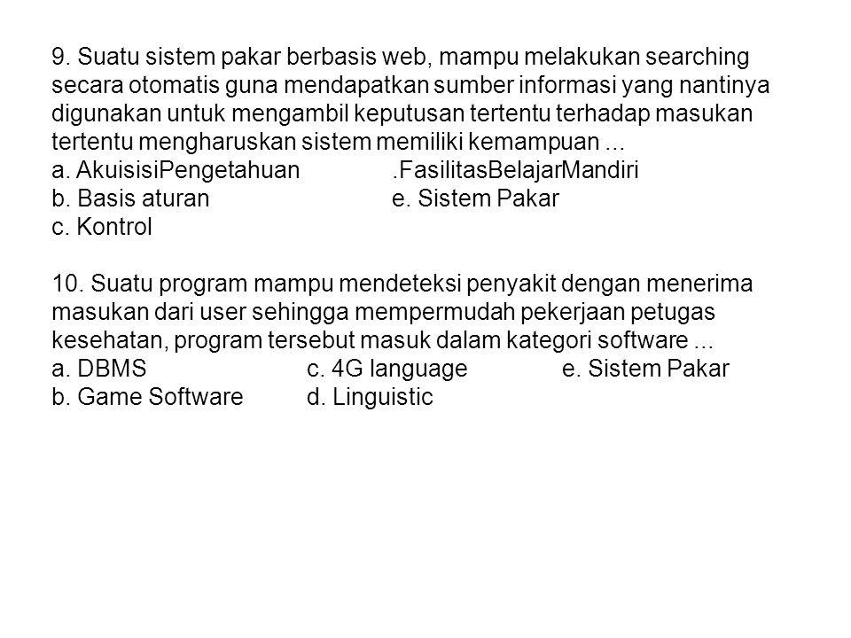 9. Suatu sistem pakar berbasis web, mampu melakukan searching secara otomatis guna mendapatkan sumber informasi yang nantinya digunakan untuk mengambi