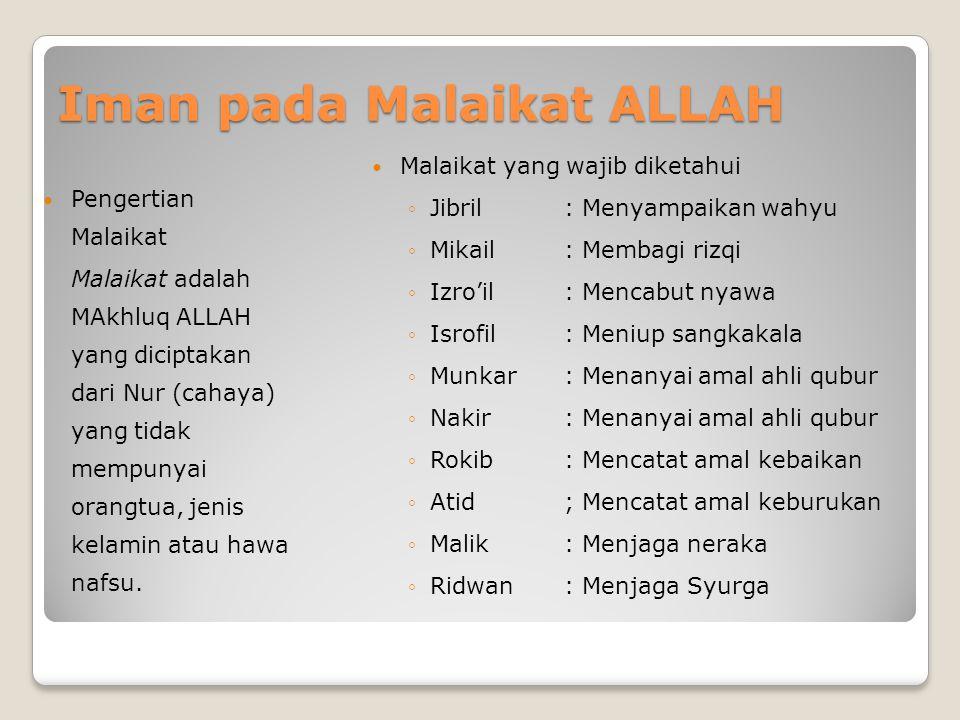 Iman Kepada ALLAH ALLAH mempunyai 3 macam sifat Sifat Wajib: 20 macam sifat Sifat Muhal: 20 macam sifat Sifat Ja'iz: 1 macam sifat