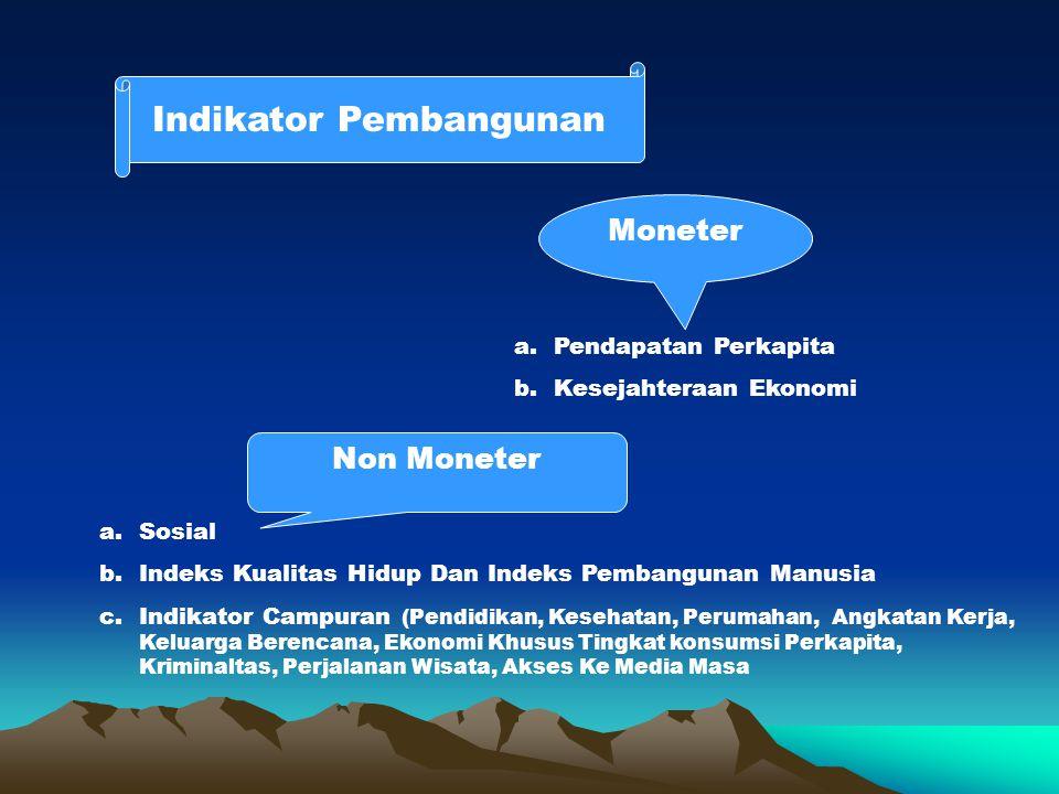 Indikator Pembangunan Moneter a.Pendapatan Perkapita b.Kesejahteraan Ekonomi Non Moneter a.Sosial b.Indeks Kualitas Hidup Dan Indeks Pembangunan Manus