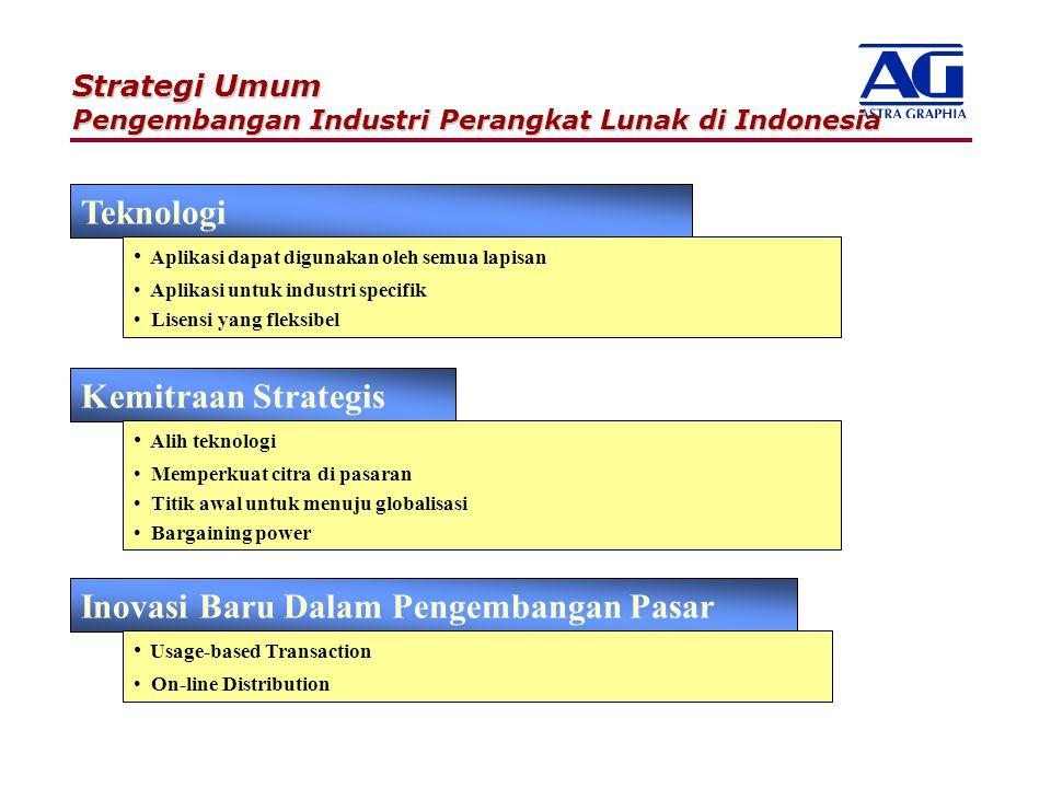 Strategi Umum Pengembangan Industri Perangkat Lunak di Indonesia Teknologi Aplikasi dapat digunakan oleh semua lapisan Aplikasi untuk industri specifi