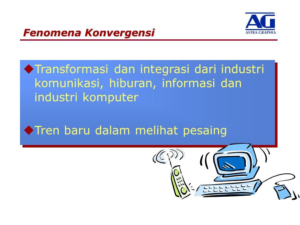 Fenomena Konvergensi uTransformasi dan integrasi dari industri komunikasi, hiburan, informasi dan industri komputer uTren baru dalam melihat pesaing u