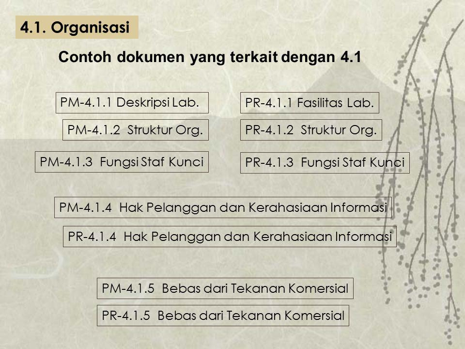PM-4.1.1 Deskripsi Lab. PR-4.1.1 Fasilitas Lab. PM-4.1.2 Struktur Org.PR-4.1.2 Struktur Org. PM-4.1.3 Fungsi Staf Kunci PR-4.1.3 Fungsi Staf Kunci PM-