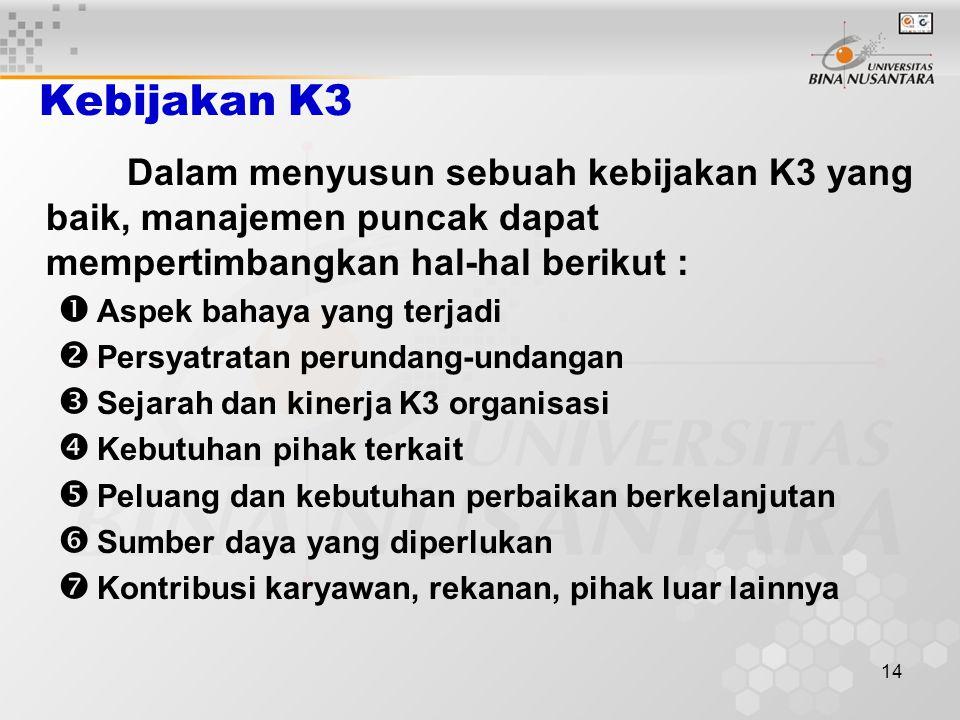 13 Urutan kegiatan dalam kaji awal sistem (Lanjutan) 2.Meninjau Pelaksanaannya Peninjauan dapat dilakukan dengan : Meninjau catatan dan rekaman K3 yan