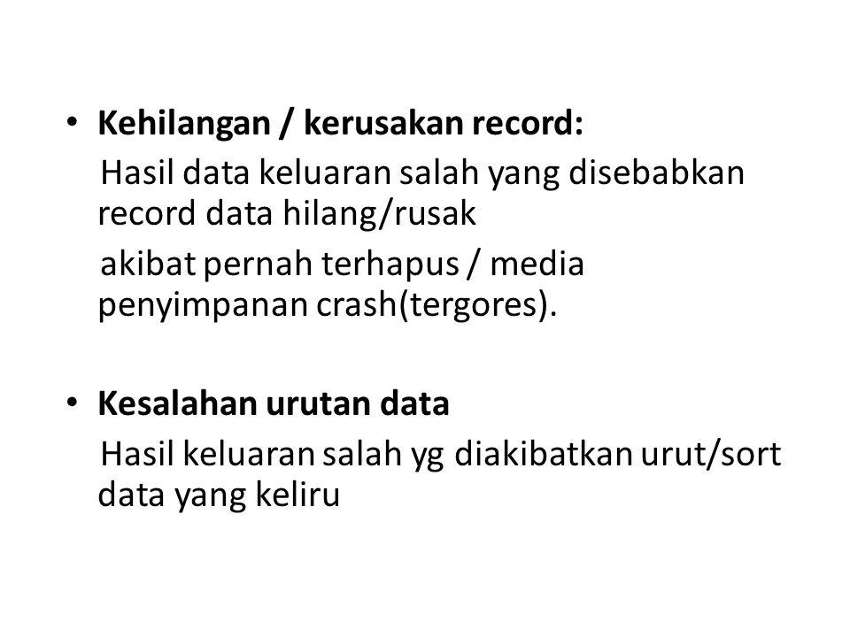 Kehilangan / kerusakan record: Hasil data keluaran salah yang disebabkan record data hilang/rusak akibat pernah terhapus / media penyimpanan crash(ter