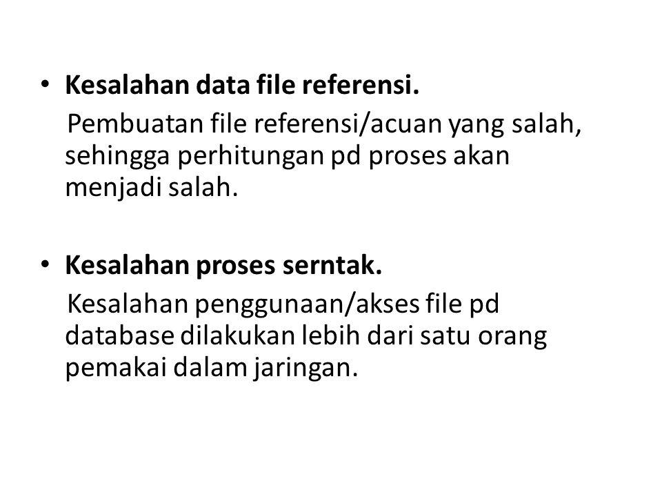 Kesalahan data file referensi. Pembuatan file referensi/acuan yang salah, sehingga perhitungan pd proses akan menjadi salah. Kesalahan proses serntak.