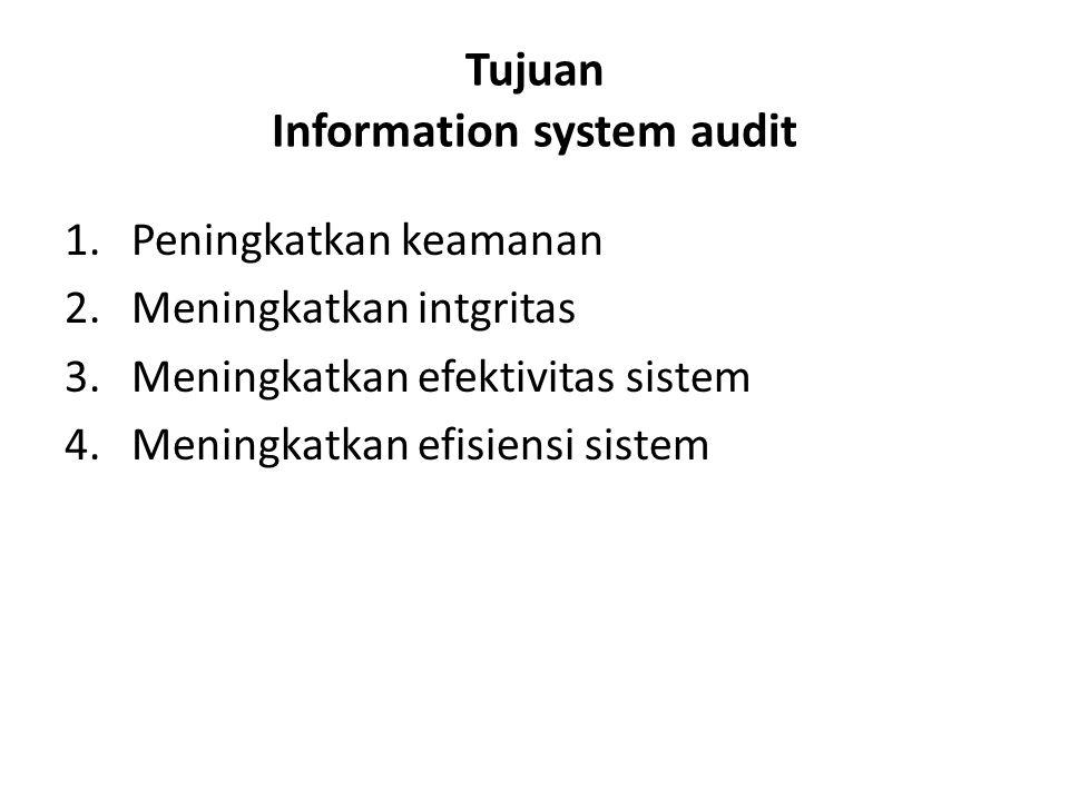 Tujuan Information system audit 1.Peningkatkan keamanan 2.Meningkatkan intgritas 3.Meningkatkan efektivitas sistem 4.Meningkatkan efisiensi sistem