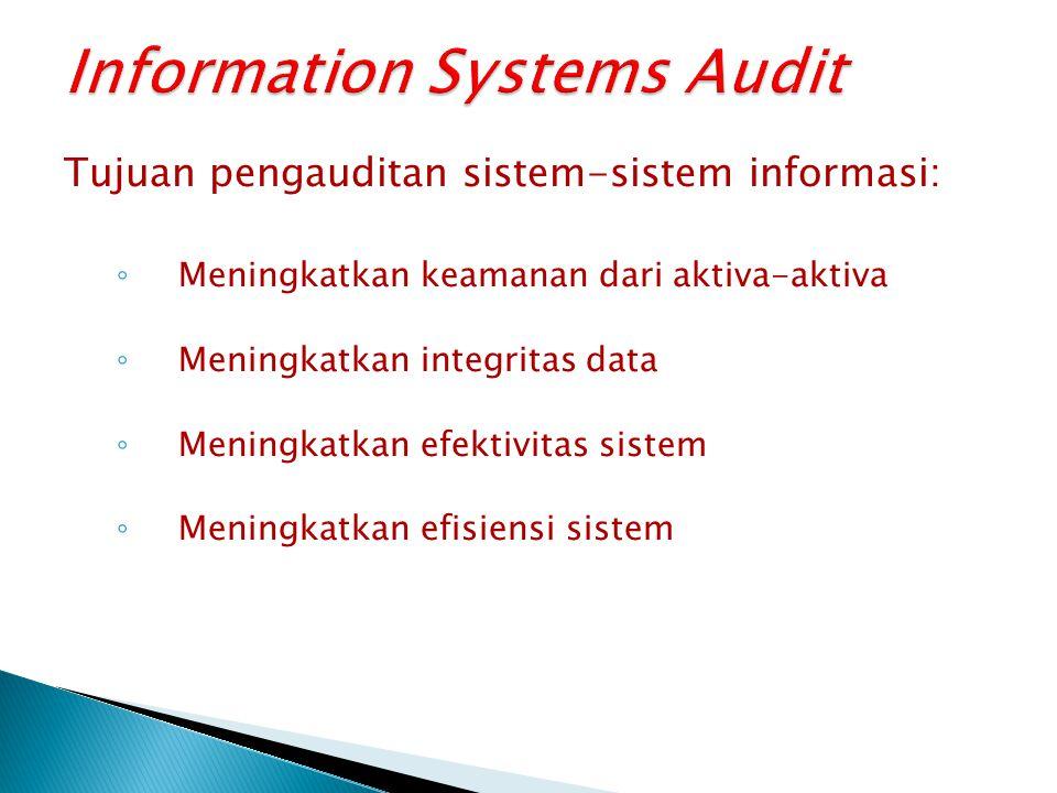 Tujuan pengauditan sistem-sistem informasi: ◦ Meningkatkan keamanan dari aktiva-aktiva ◦ Meningkatkan integritas data ◦ Meningkatkan efektivitas sistem ◦ Meningkatkan efisiensi sistem