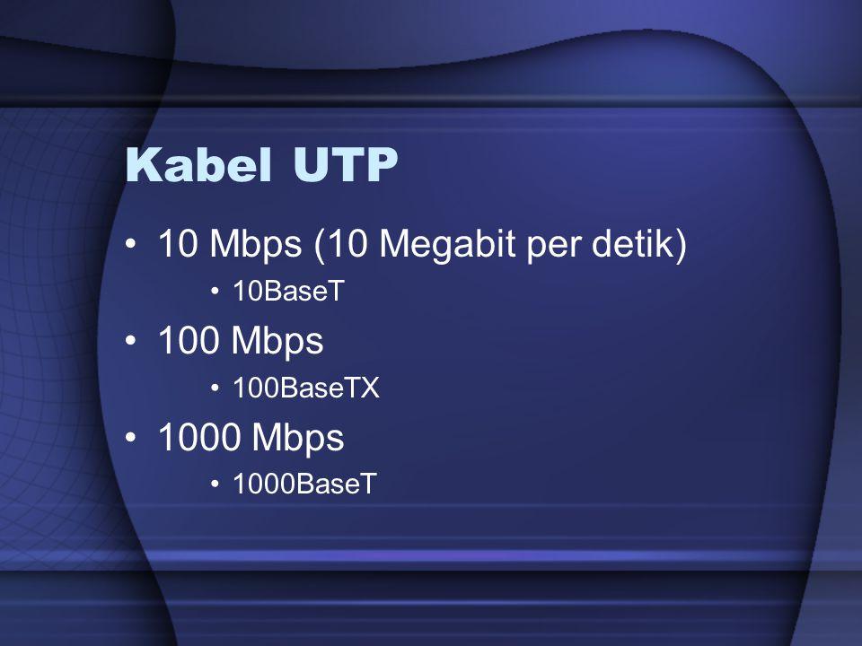 Kabel UTP 10 Mbps (10 Megabit per detik) 10BaseT 100 Mbps 100BaseTX 1000 Mbps 1000BaseT