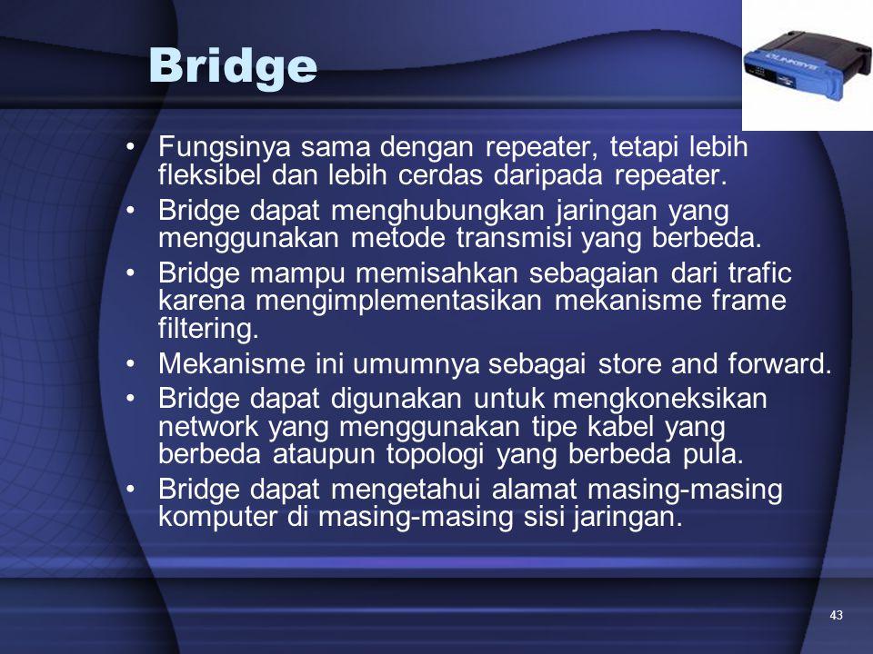 43 Bridge Fungsinya sama dengan repeater, tetapi lebih fleksibel dan lebih cerdas daripada repeater. Bridge dapat menghubungkan jaringan yang mengguna